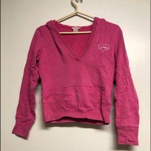 Pink guess crop v neck hoodie